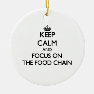 Guarde la calma y el foco en la cadena alimentaria ornamentos de reyes magos