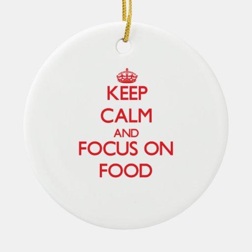 Guarde la calma y el foco en la comida ornamentos de reyes