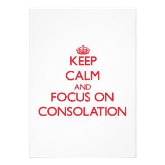 Guarde la calma y el foco en la consolación