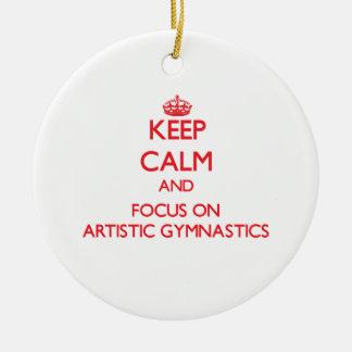 Guarde la calma y el foco en la gimnasia artística adorno