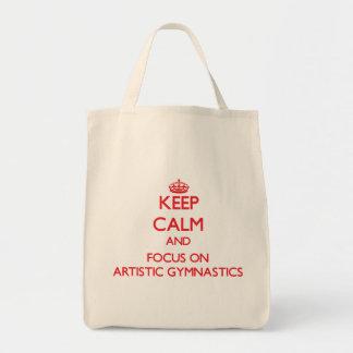 Guarde la calma y el foco en la gimnasia artística bolsa de mano
