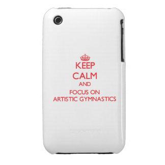 Guarde la calma y el foco en la gimnasia artística iPhone 3 Case-Mate carcasas