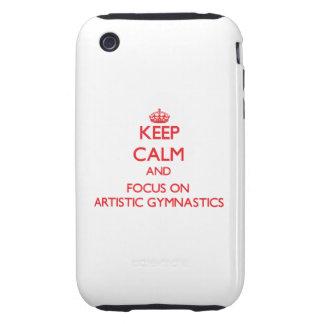 Guarde la calma y el foco en la gimnasia artística tough iPhone 3 protector