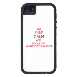 Guarde la calma y el foco en la gimnasia artística iPhone 5 carcasa