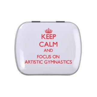 Guarde la calma y el foco en la gimnasia artística latas de caramelos