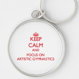 Guarde la calma y el foco en la gimnasia artística llavero