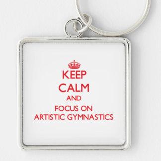 Guarde la calma y el foco en la gimnasia artística llaveros