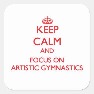 Guarde la calma y el foco en la gimnasia artística calcomania cuadradas