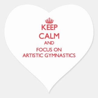 Guarde la calma y el foco en la gimnasia artística calcomanías corazones personalizadas
