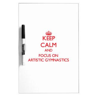 Guarde la calma y el foco en la gimnasia artística pizarra