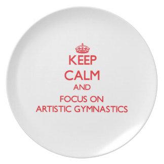 Guarde la calma y el foco en la gimnasia artística plato