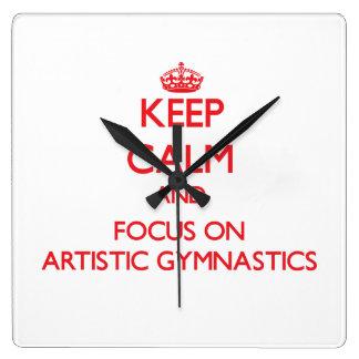 Guarde la calma y el foco en la gimnasia artística reloj de pared