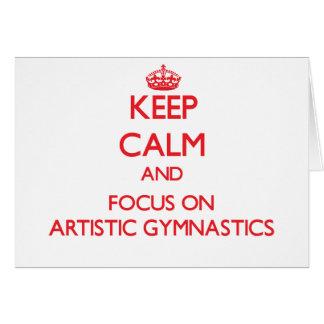 Guarde la calma y el foco en la gimnasia artística tarjetón