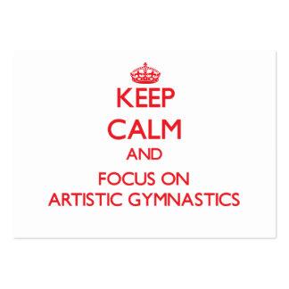 Guarde la calma y el foco en la gimnasia artística tarjetas de visita grandes