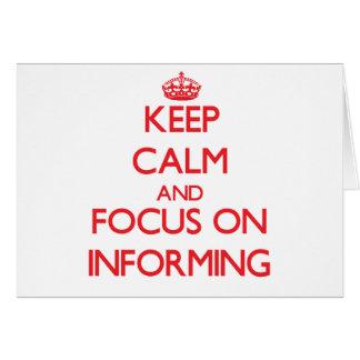 Guarde la calma y el foco en la información tarjeta de felicitación