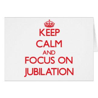 Guarde la calma y el foco en la jubilación tarjeta de felicitación