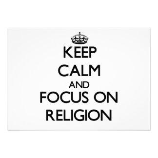 Guarde la calma y el foco en la religión
