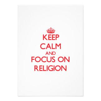 Guarde la calma y el foco en la religión comunicados personales