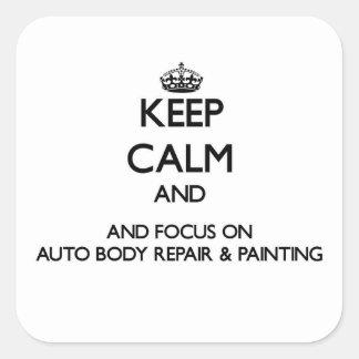 Guarde la calma y el foco en la reparación y la colcomanias cuadradas