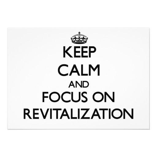 Guarde la calma y el foco en la revitalización invitaciones personales