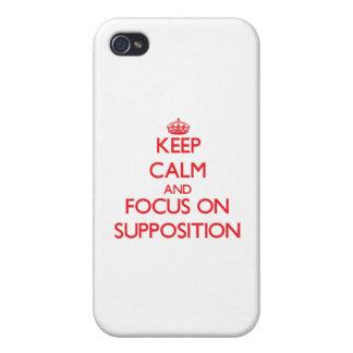 Guarde la calma y el foco en la suposición iPhone 4 protector