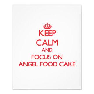 Guarde la calma y el foco en la torta de comida de tarjetones