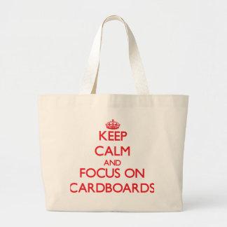 Guarde la calma y el foco en las cartulinas bolsa de mano