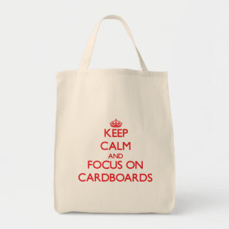 Guarde la calma y el foco en las cartulinas bolsas