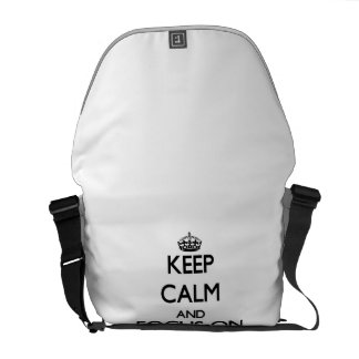 Guarde la calma y el foco en las cartulinas bolsa de mensajería