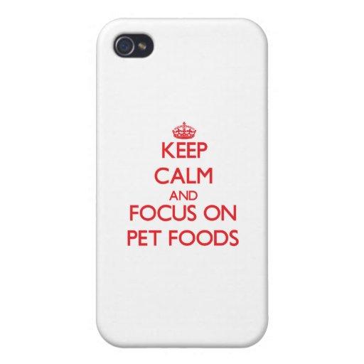 Guarde la calma y el foco en las comidas de mascot iPhone 4 cobertura