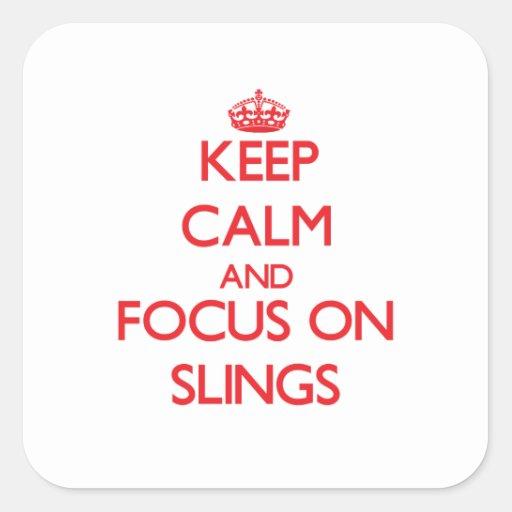 Guarde la calma y el foco en las hondas pegatinas cuadradases personalizadas