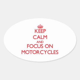Guarde la calma y el foco en las motocicletas pegatinas de óval personalizadas