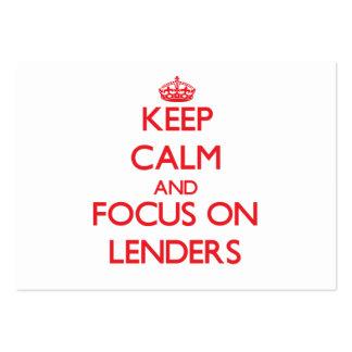 Guarde la calma y el foco en Lenders Tarjetas De Visita Grandes
