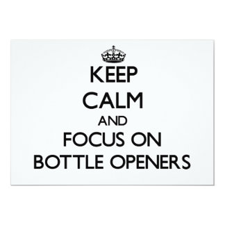 Guarde la calma y el foco en los abrebotellas invitaciones personales