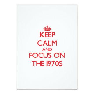 Guarde la calma y el foco en los años 70 comunicados personalizados