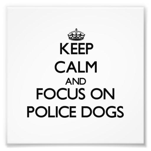 Guarde la calma y el foco en los perros policía arte con fotos