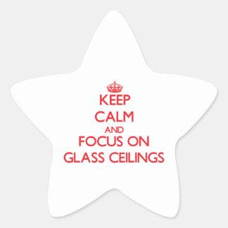 Guarde la calma y el foco en los techos de cristal calcomania cuadrada personalizada