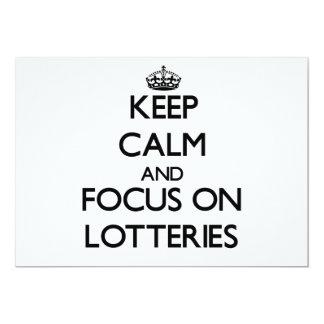 Guarde la calma y el foco en loterías invitación 12,7 x 17,8 cm