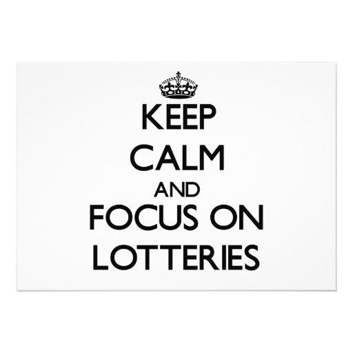 Guarde la calma y el foco en loterías invitación personalizada