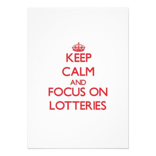 Guarde la calma y el foco en loterías anuncio