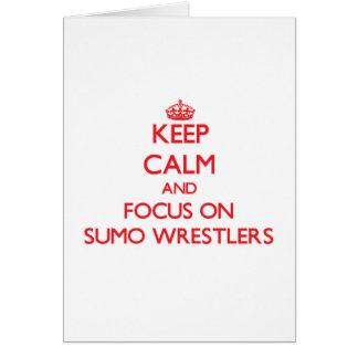 Guarde la calma y el foco en luchadores del sumo tarjeton
