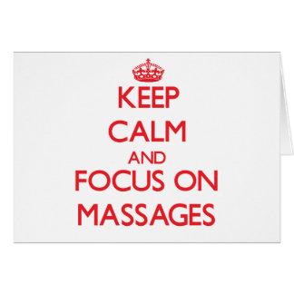 Guarde la calma y el foco en masajes tarjetón