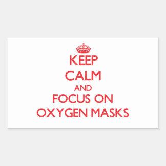 Guarde la calma y el foco en máscaras de oxígeno rectangular pegatinas