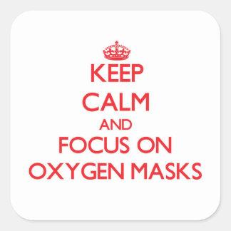 Guarde la calma y el foco en máscaras de oxígeno colcomania cuadrada