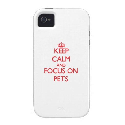 Guarde la calma y el foco en mascotas iPhone 4 fundas