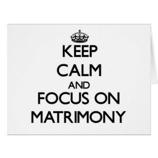 Guarde la calma y el foco en matrimonio