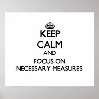 Guarde la calma y el foco en medidas necesarias posters