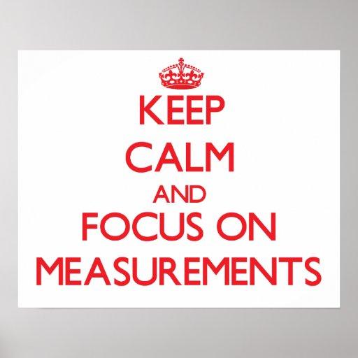 Guarde la calma y el foco en medidas poster
