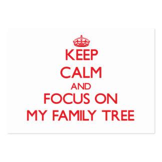 Guarde la calma y el foco en mi árbol de familia plantilla de tarjeta de visita