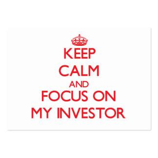 Guarde la calma y el foco en mi inversor tarjetas de visita grandes